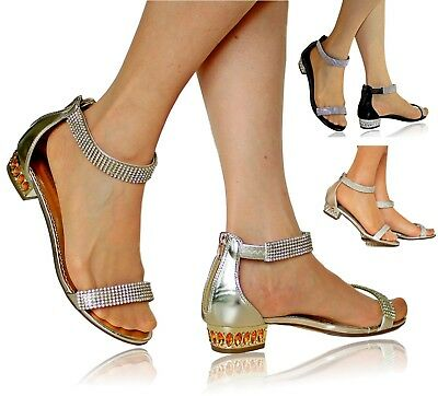 Womens Ladies Party Diamante Ankle Straps Low Flat Heel Shoes Sandal Size-1019