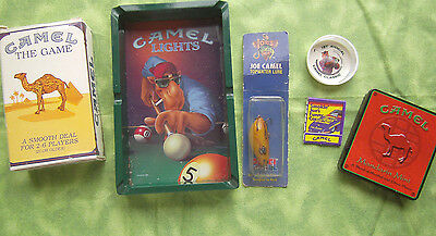 Camel Joe Collectible Lot of 6 Items Fishing Lure Ashtray Matchbook Game
