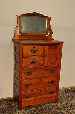Antique Solid Oak Tall Dresser Chest of Drawers with Mirror key Bonnet Cupboard