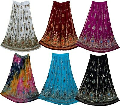 LOT-5PC@US$69 RAYON CRINKLE Indian skirt kjol jupe Rock hippy falda women ehs