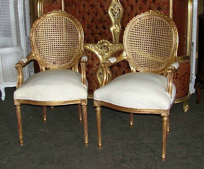 Two French Louis XVI Gilt Cane Caned Dining Chairs
