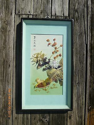 Vintage Chinese Framed Shadow Boxes Lacquer Mother of Pearl Birds & Flowers