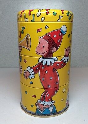 Vintage CURIOUS GEORGE 3 in 1 Stacking Tin Containers Trinket Box Schylling 1995