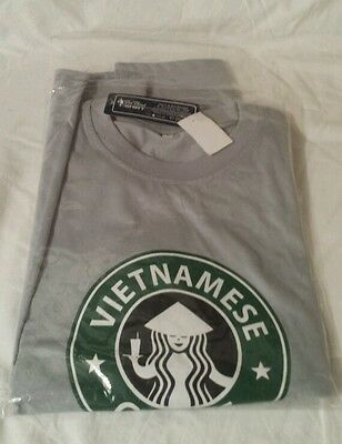 NEW Vietnamese Coffee Starbucks T-Shirt Ca Phe Sua Da Grey Mens Size L