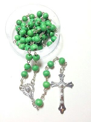 Rosary - Catholic wood Beads Rosary Prayer Necklace in green