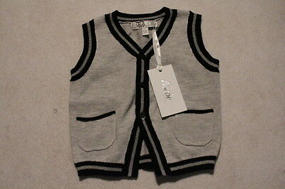 Baby Boy Size 00,1,18m,2,3,4 Bebe Winter Knitted Grey Vest NWT
