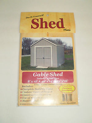 Do-it-Yourself Shed Plans Gable Shed  3 shed sizes 8' x 12' 10' x 14' 12'x 16'