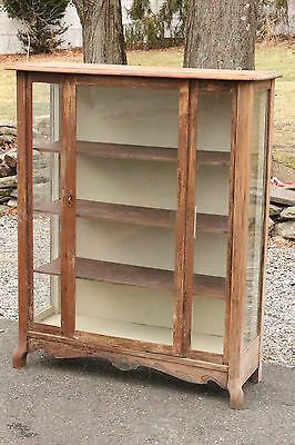 Antique Colorado Dry Goods General Store Display Glass Front Cabinet