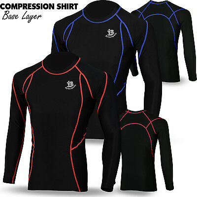 Mens Base Layer Compression Shirt Top Full Sleeve Long Thermal Body Armour Black