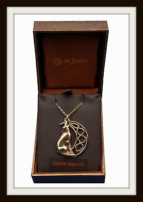Bronze Howling Wolf & Celtic Moon Pendant Necklace ~ From St. Justin ~ Free P&p