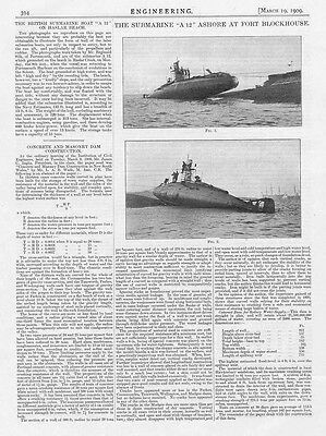 1909 Antique Engineering Print - The Submarine 'A12' Ashore at Fort Blockhouse