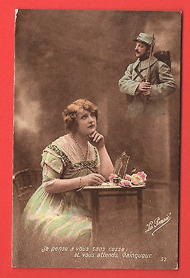 PATRIOTIC WOMAN AND SOLDIERS WITH GUN VINTAGE PC. 861