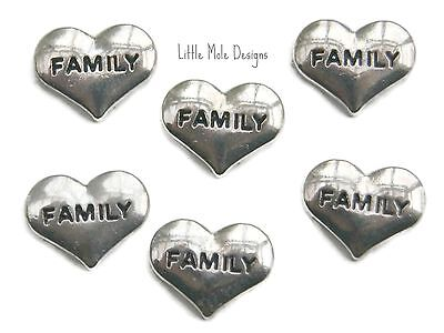 Charms Silver 'Family' Floating Heart Charm For Living Memory Locket, Necklace