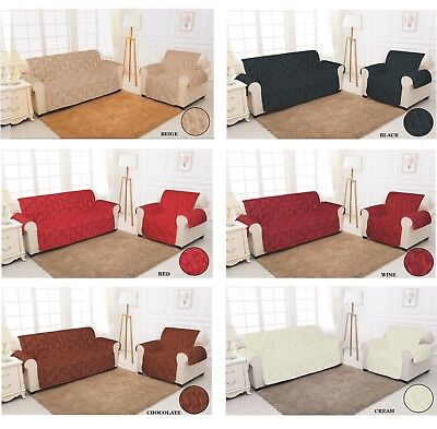 QUILTED Jacquard Slip Sofa Chair Cover Pet Protector 1,2,3 Seater Sofa Throw