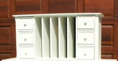 Grandinroad Frontgate Stanford Tall Hutch Office Desk White mail file cabinet
