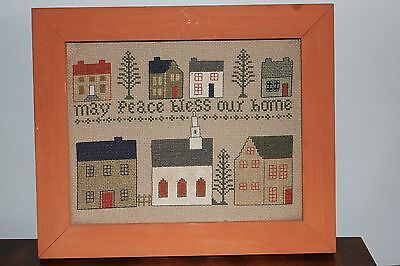 """Framed Completed Crosstitch """"May Peace Bless Our Home"""" 10"""" x 12"""" folk art style"""
