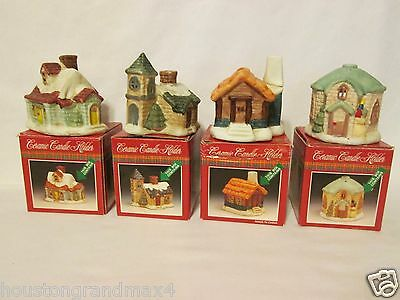 Ceramic candle holder houses Christmas village type with tea light candles
