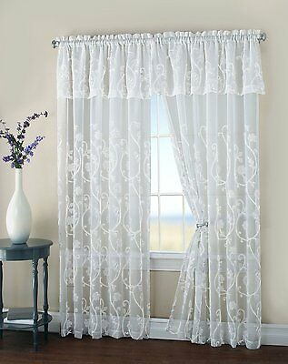 Malta Floral Embroidery Matte Sheer with Attached Valance Window Curtain Panel