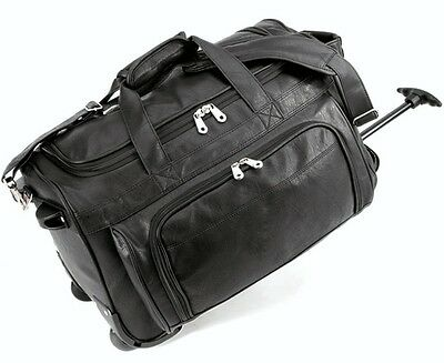 "G Pacific Statute Koskin Leather 20"" Carry-on Rolling Upright Wheeled Duffel Bag"
