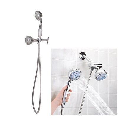 New High Pressure 5 Setting Dual Handheld Shower Head With 60 Inch Long Hose
