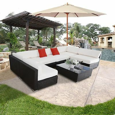 Black Outdoor Patio 7PC Sectional Furniture PE Wicker Rattan Sofa Set Deck Couch