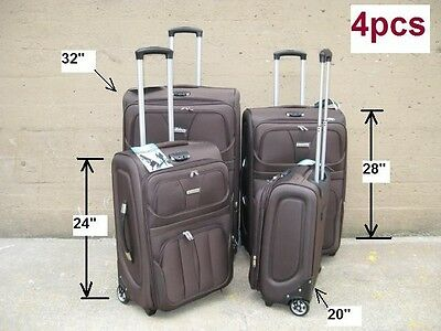 "4PCS NWT BROWN EXPANDABLE SUITCASE LUGGAGE UPRIGHT 20"" 24"" 28"" 32"""