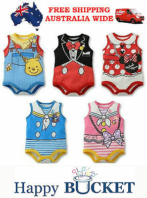 NEW Baby Girls Boys Disney Romper Kids Cotton Clothes Outfit Bodysuit,size 0.1.2