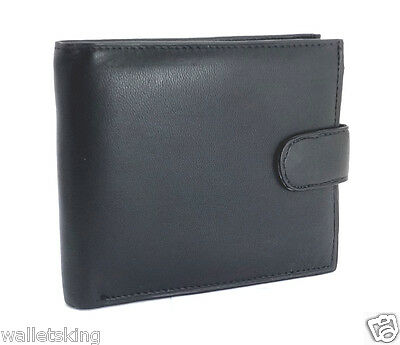 GENTS REAL SOFT BLACK LEATHER CREDIT CARD HOLDER, PURSE, COIN POUCH WALLET 895