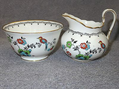 TUSCAN OPEN SUGAR & CREAMER BIRD OF PARADISE RAISED ENAMEL PATTERN EXCELLENT