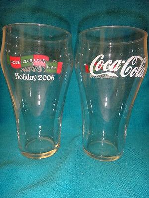 SET OF 2 COCA COLA HOLIDAY GLASSES 2005 GIVE LIVE LOVE COLA