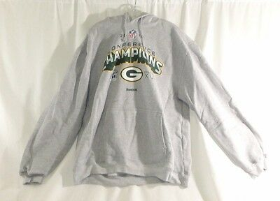 NFL Packers 2010 NFC Champs LR Hooded Fleece Large Gray