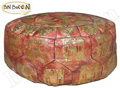 Authentic Egyptian Morocan Genuine Leather Ottoman Pouf Footstool Empty    438