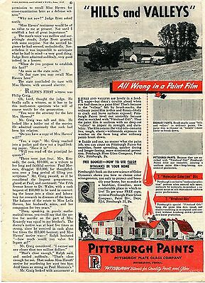 1945 Pittsburgh Paints PPG Hills and Valleys Print Ad