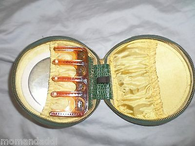 """Vintage Wales """"Sweet Heart"""" Green Leather Purse Case Travel Mirror Keys Coin GUC"""