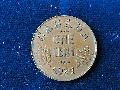 1924 Canada Small Cent Rare / Key Date In Mid Grade