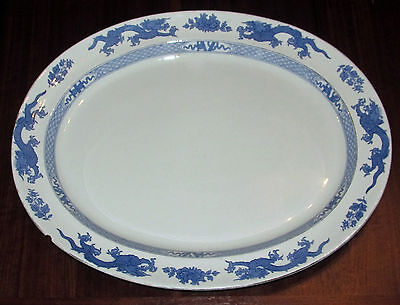 VINTAGE LGE PLATTER BLUE DRAGON PATTERN  & GILT BOOTHS SILICON CHINA APPROX 1926