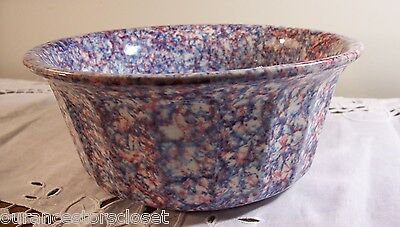 "Stangl **OLDE GLORY**  Red, White, Blue Spongeware 8"" Souffle/Vegetable Bowl EUC"