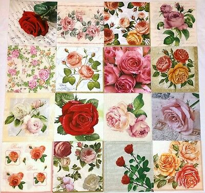 16 paper napkins for decoupage & crafts lunch sz 3-ply  #*GARDEN OF ROSES*#