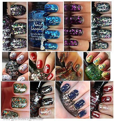 1 NEW Kleancolor GLITTER Nail Polish FULL SIZE 15ML .5OZ 12 Colors Choose From