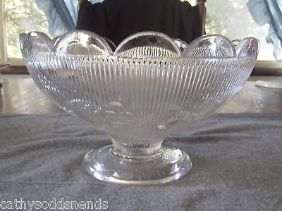 EAPG MCKEE FLINT GLASS FINE CUT AND BELLFLOWER WIDE RIM COMPOTE WITH PLAIN FOOT