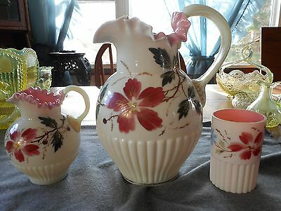 Rare Mt Washington Opal & Pink Ribbed Hand Enameled Pitcher, Creamer, & Tumbler
