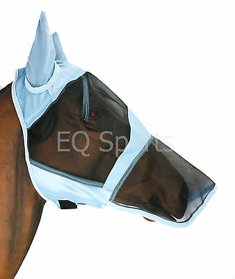 FAST P&P Full Face FLY MaskHood/Veil with nose ALL SIZES  Black-Blue & Beige