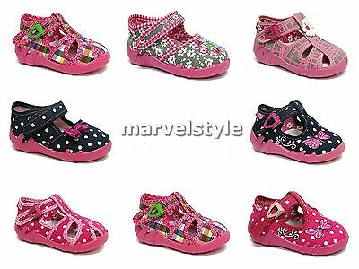 Baby Girls Canvas Shoes -Nursery Slippers- Sandals Uk 3-9 /eu 19-27 - Renbut