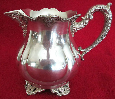 "VINTAGE SILVER PLATE CREAMER #62 - SPIDER WEB ON BOTTOM W/A ""W"" IN A STAR"