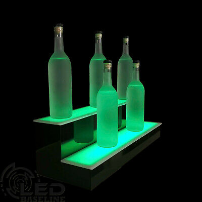 "24"" LIGHTED BAR SHELF, Two Steps, Liquor display shelving, bar bottle shelves"