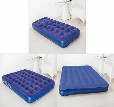 Inflatable Flocked Air Bed Single Double King Size Guest Camping Mattress