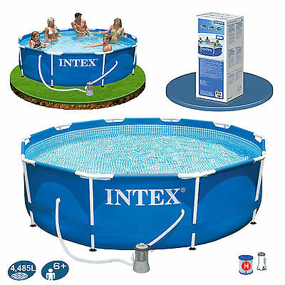 Intex 10ft Metal Frame Swimming Pool Set Filter Pump DVD Family Garden Summer