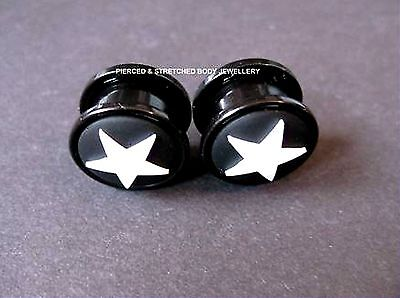 PAIR of 14mm BLACK With WHITE Star EAR PLug - Tunnels & Plugs