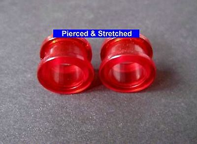 PAIR of 12mm RED Tunnels SCREW Fit BACK - Tunnels & Plugs