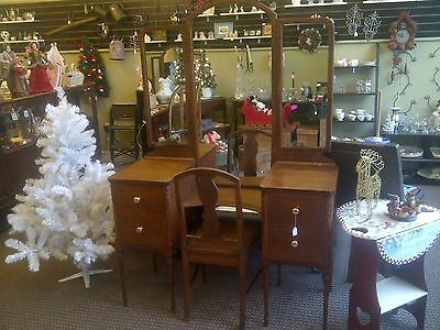 Antique 1920's Vanity with Mirror and Chair